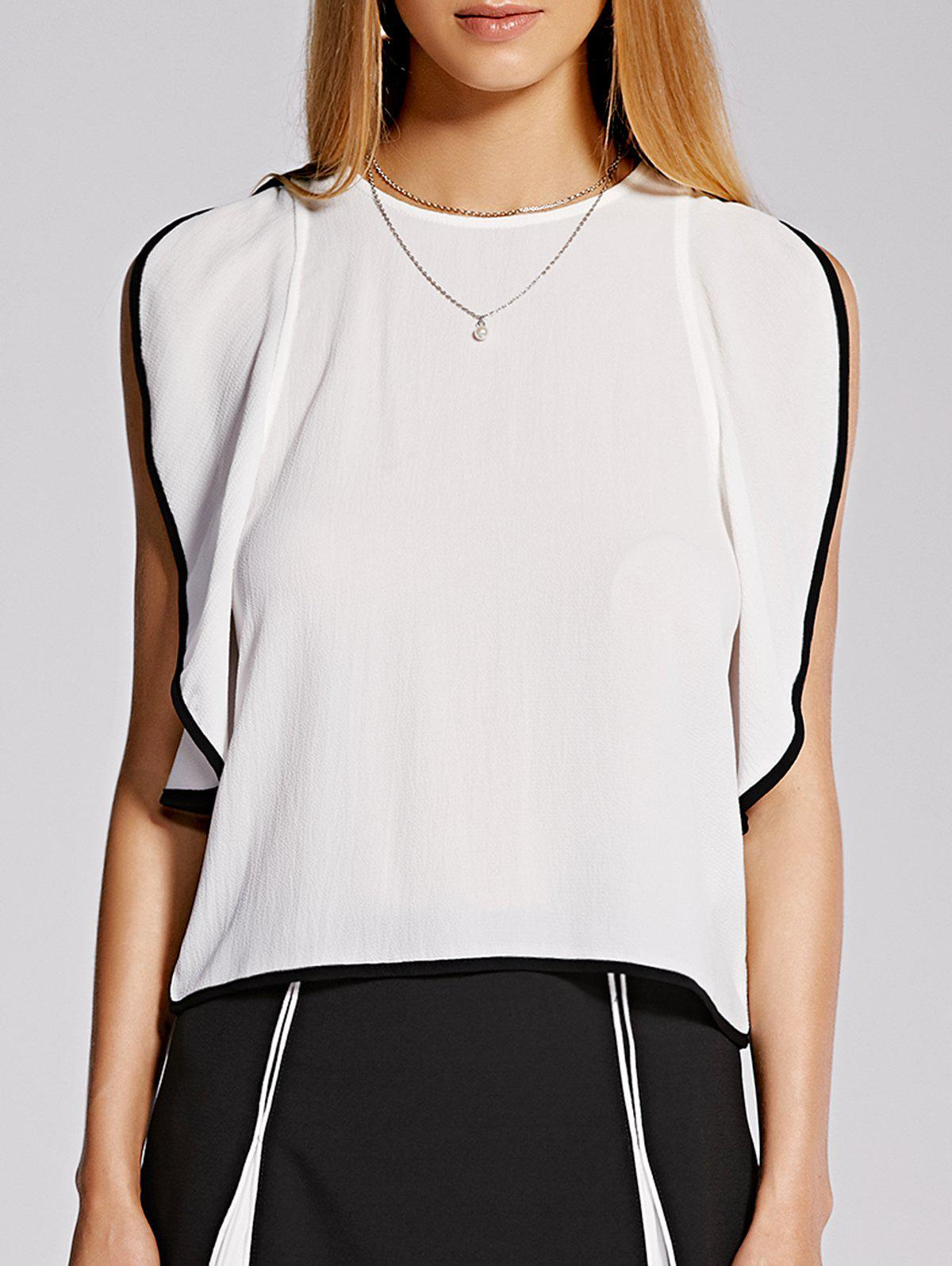 Stylish Flounced Sleeveless Round Neck Women's Blouse - S WHITE