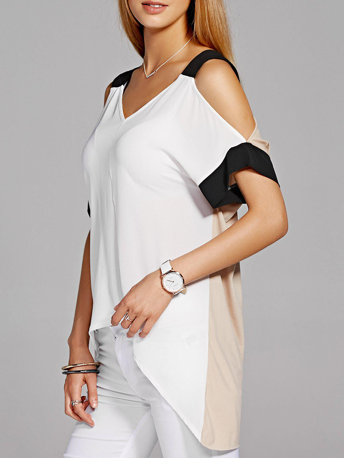 Stylish Asymmetric Short Sleeve V-Neck Women's Blouse - L WHITE