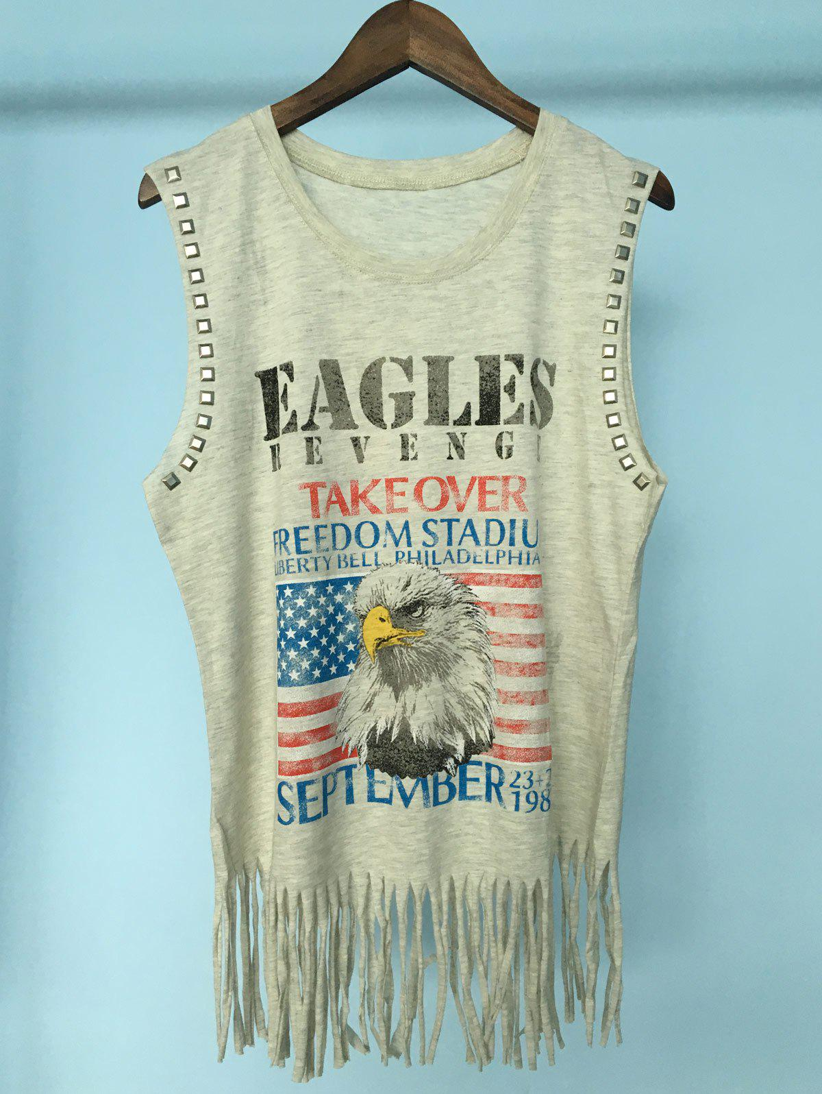 Stylish Women's Scoop Neck Stud Fringe American Flag Print Tank Top - LIGHT GRAY ONE SIZE(FIT SIZE XS TO M)