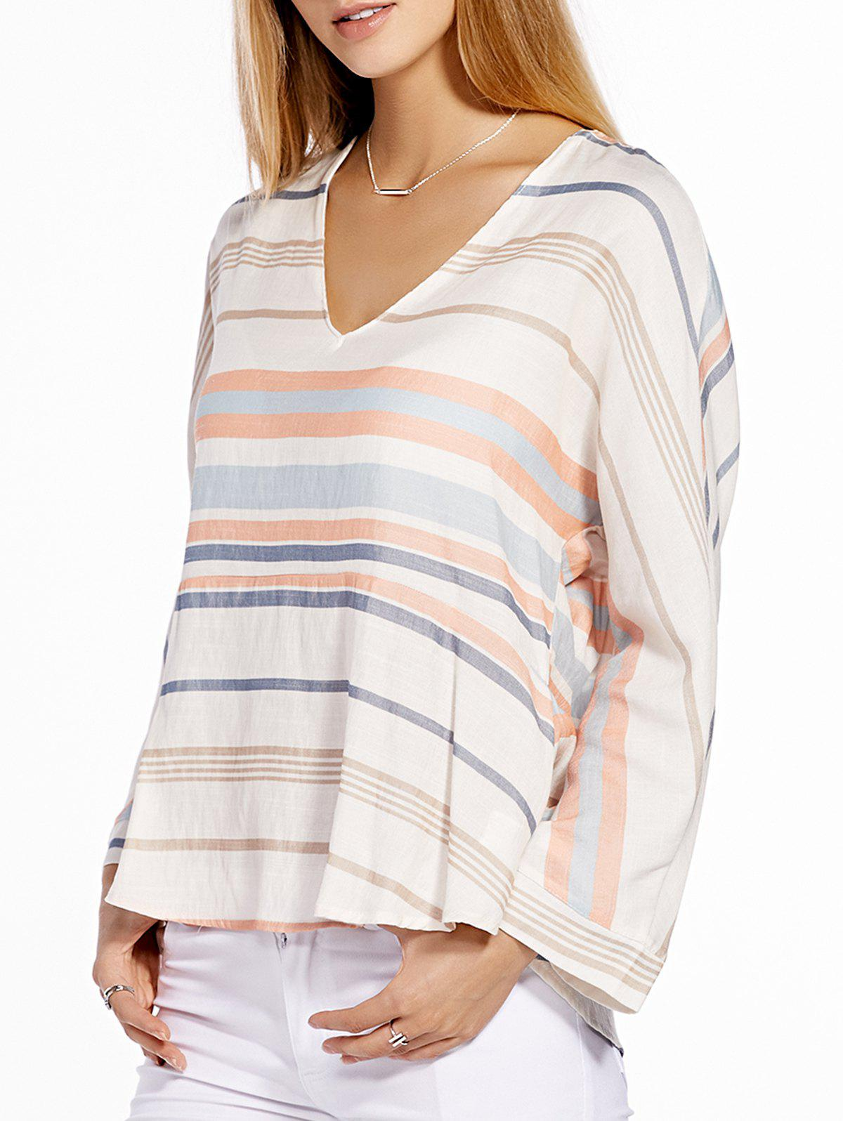 Stylish Women's 3/4 Sleeve V-Neck Striped Blouse - OFF WHITE L