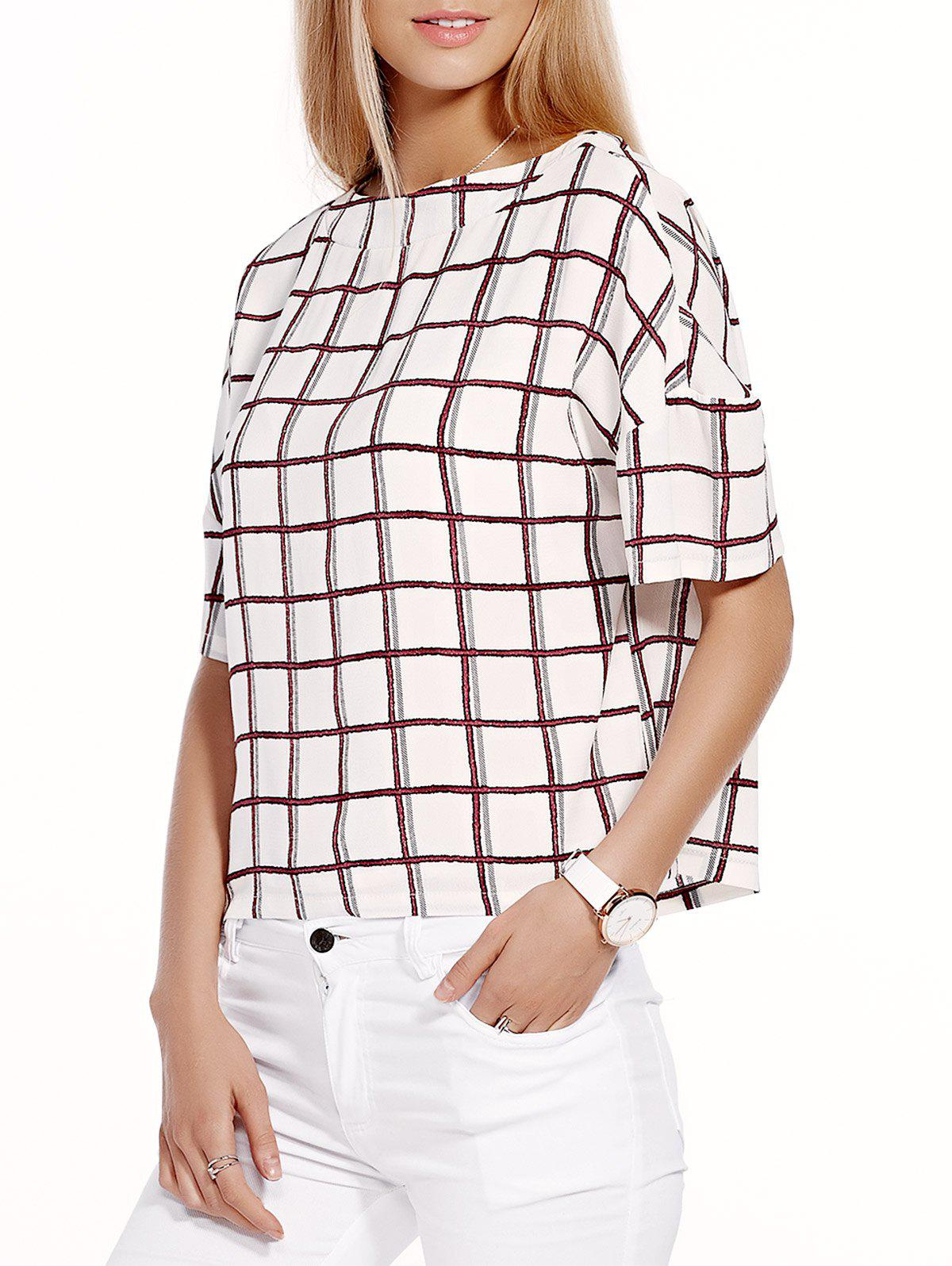 Stylish Checked Half Sleeve Round Neck Womens T-ShirtWomen<br><br><br>Size: L<br>Color: WHITE