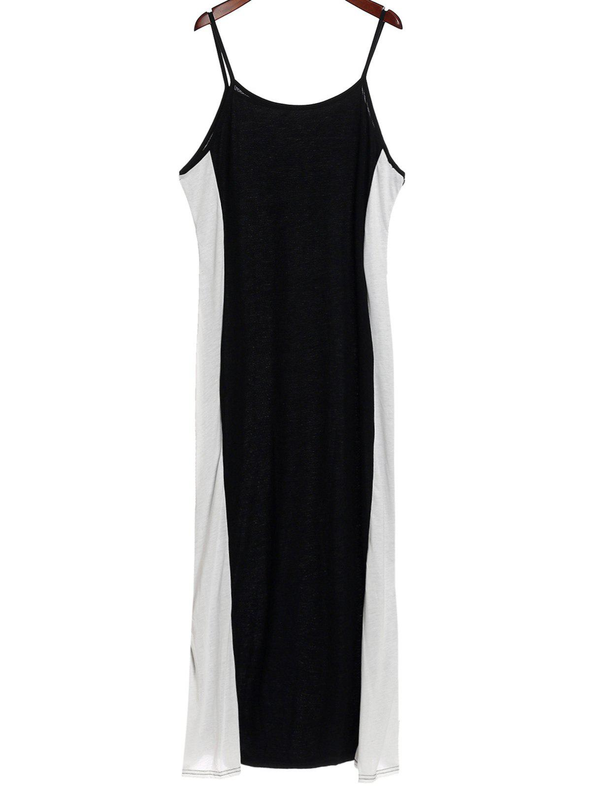 Sexy Spaghetti Strap Slimming Color Block Women's Dress - WHITE/BLACK 3XL