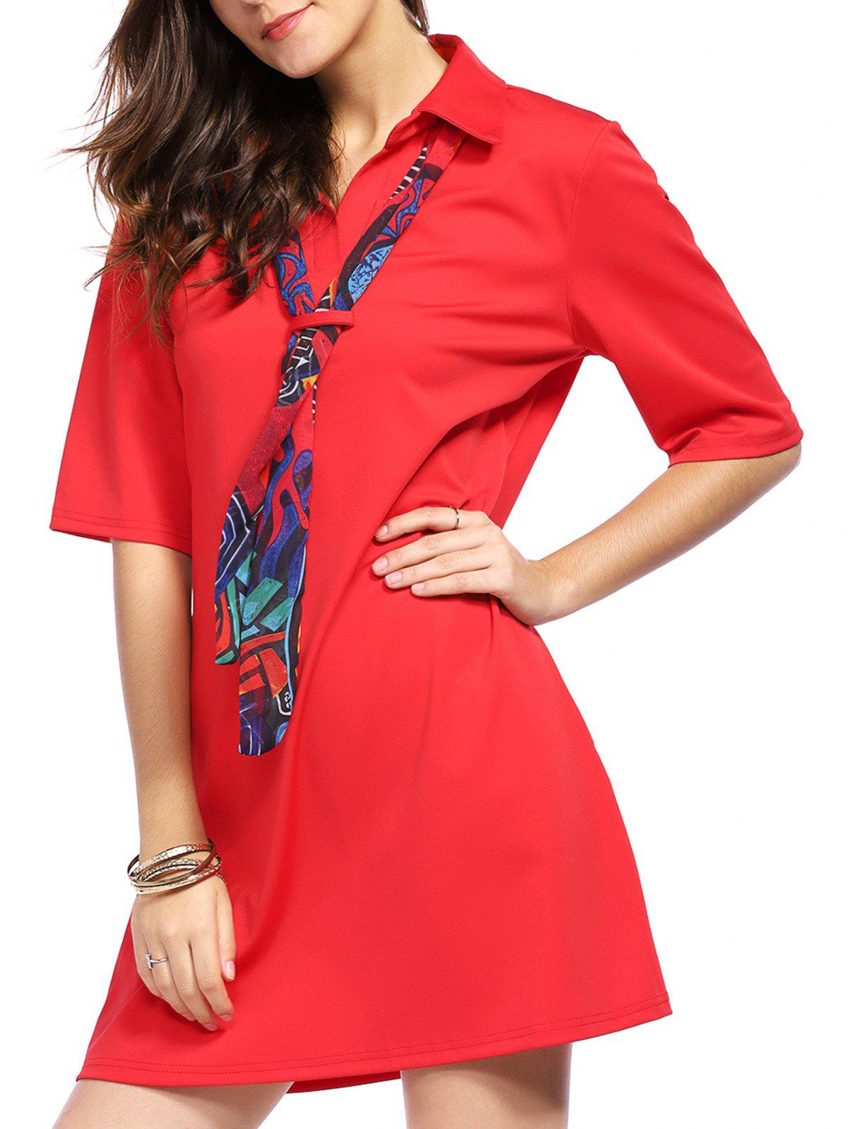 Stylish Women's Short Sleeve Shirt Dress with Scarf - RED 2XL