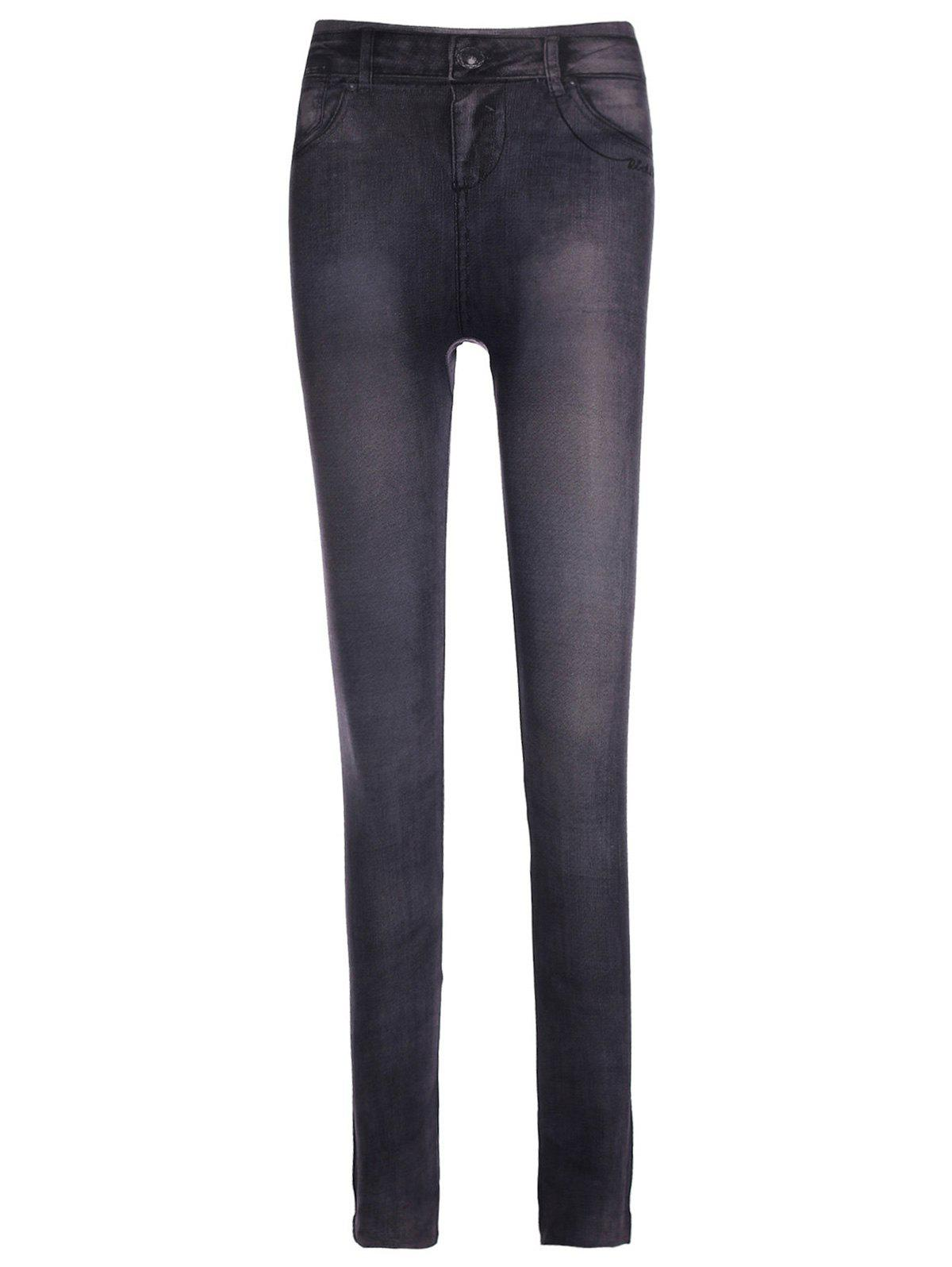 Fashionable Chambray Low-Waisted Women's Skinny Pants
