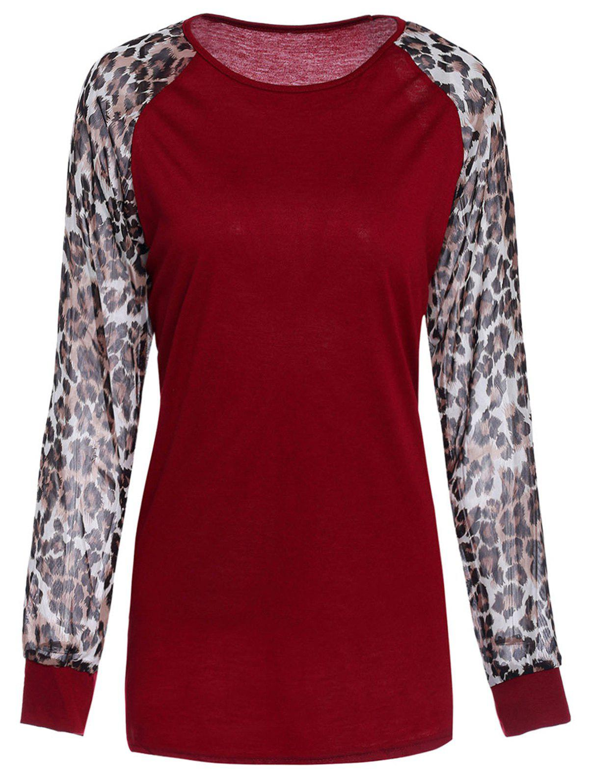 Chic Leopard Splicing Round Neck Long Sleeve T-Shirt For Women - WINE RED 2XL