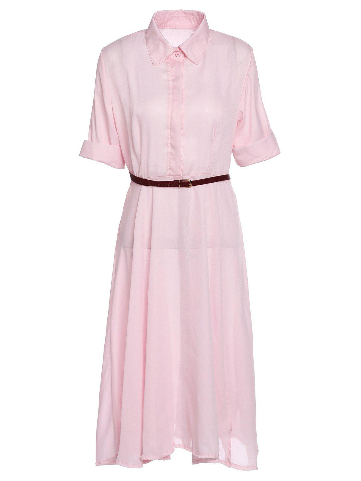 Stylish Short Sleeve Turn-Down Collar High Slit Chiffon Women's Dress - PINK XL
