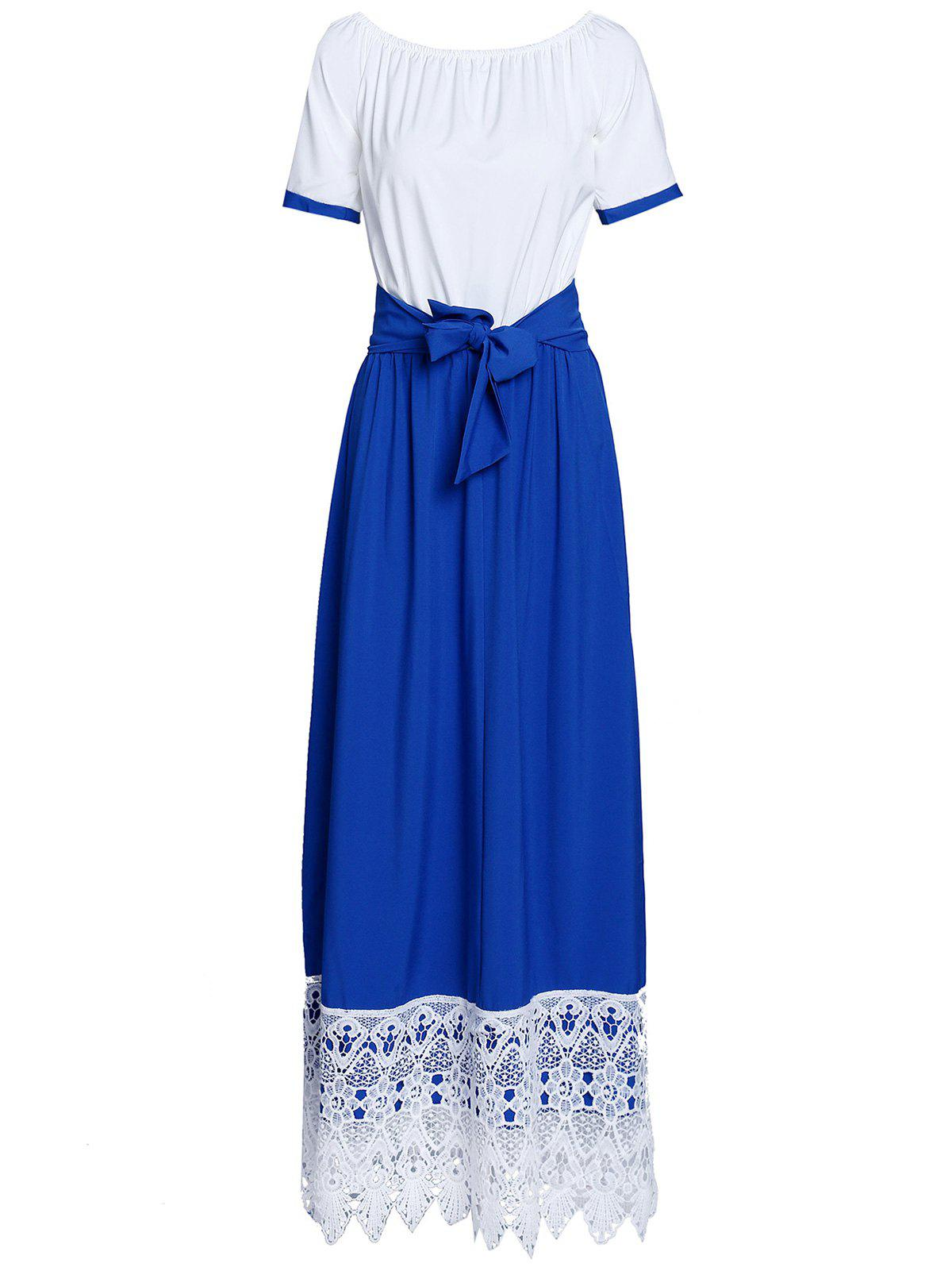 Endearing Color Block Ruffled Sleeve Lace Hem Loose Maxi Dress For Women - DEEP BLUE 3XL