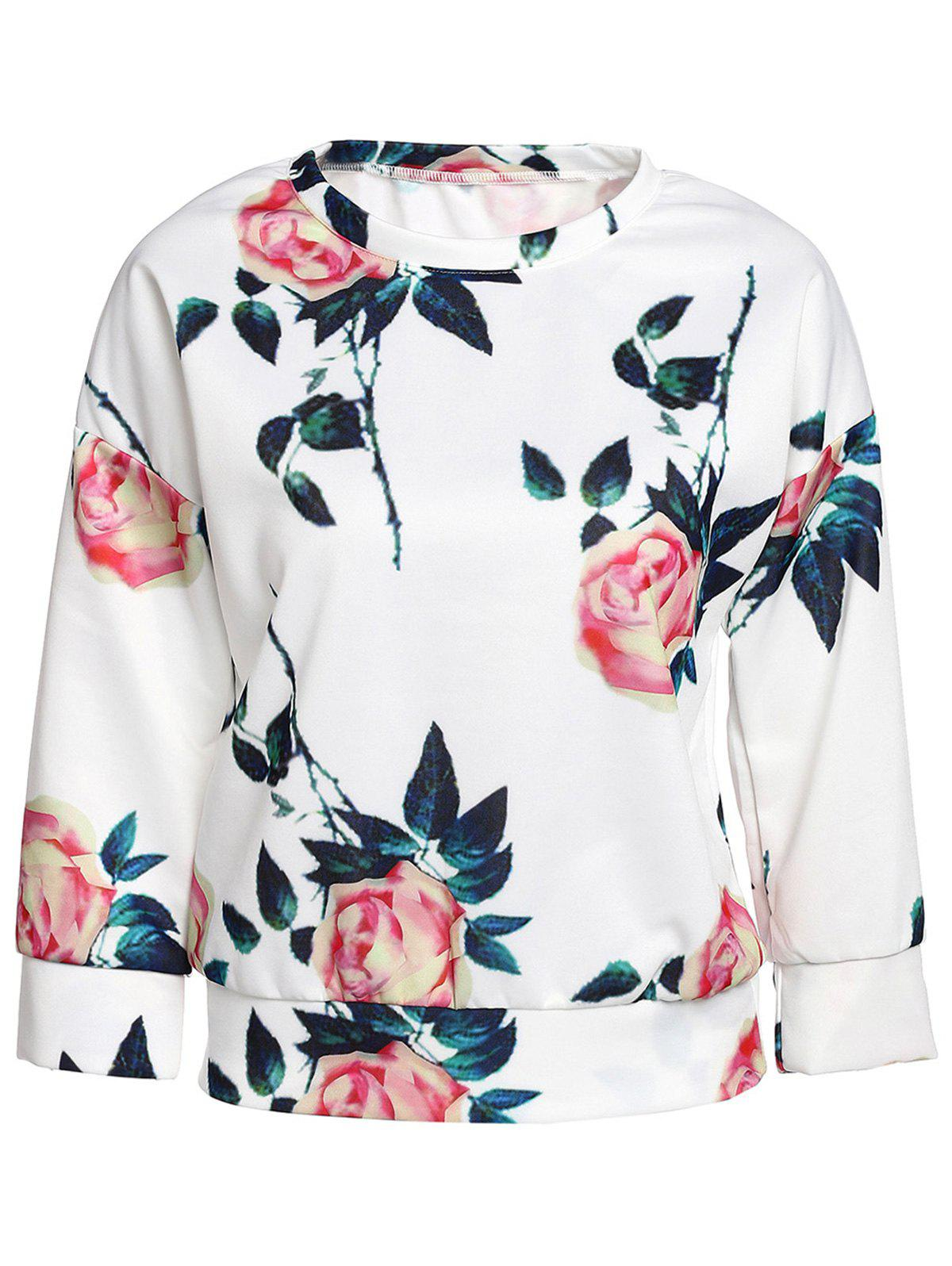 Graceful Long Sleeve Round Neck Rose Print Women's Sweatshirt - WHITE S