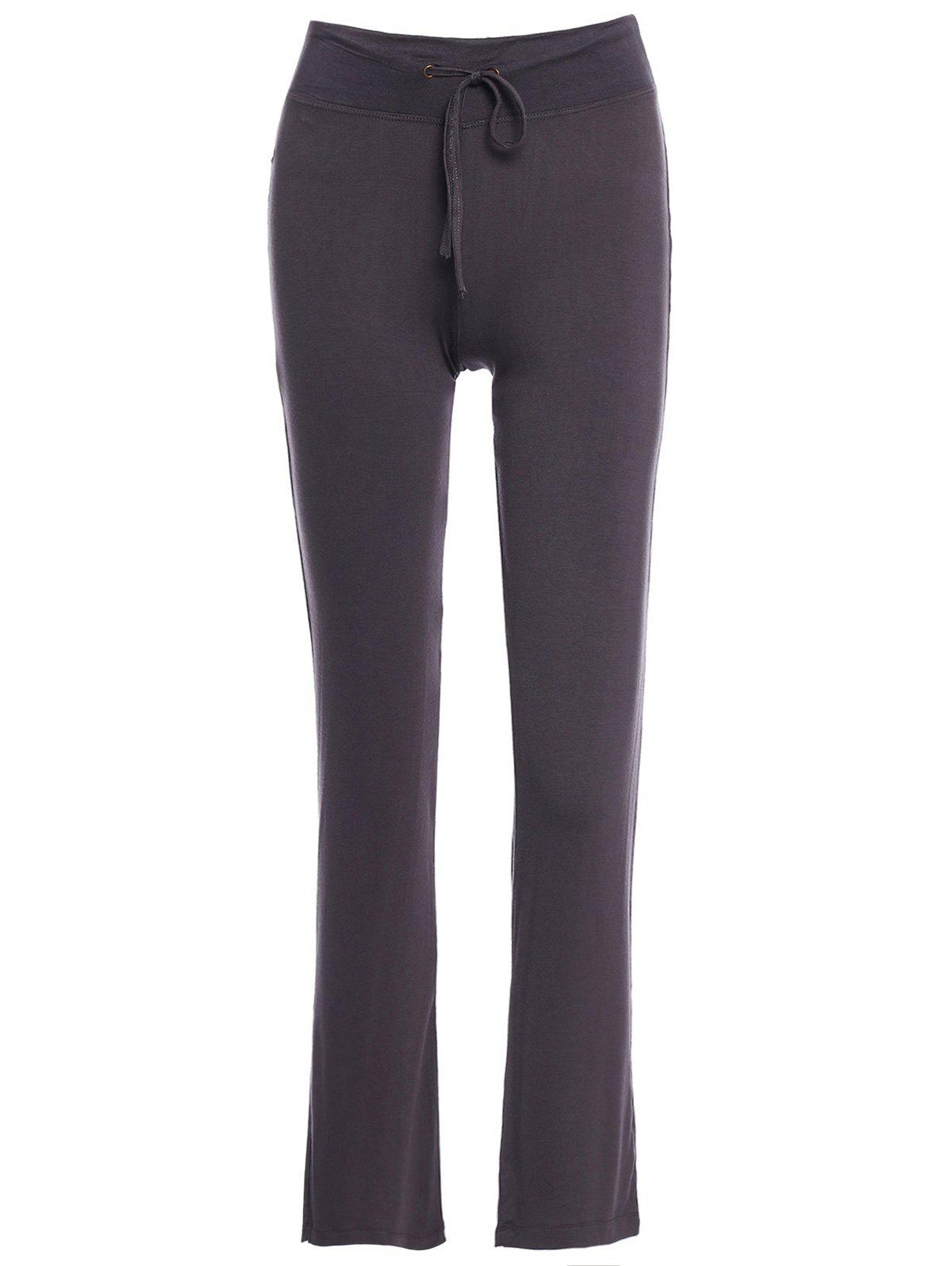 Women's Trendy Solid Color Drawstring Yoga Pants - DEEP GRAY M