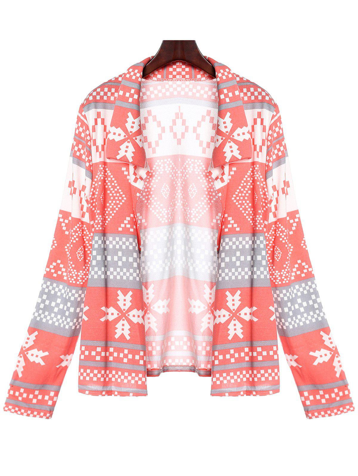 Stylish Turn-Down Collar Long Sleeve Pocket Design Printed Women's Cardigan - PINK S