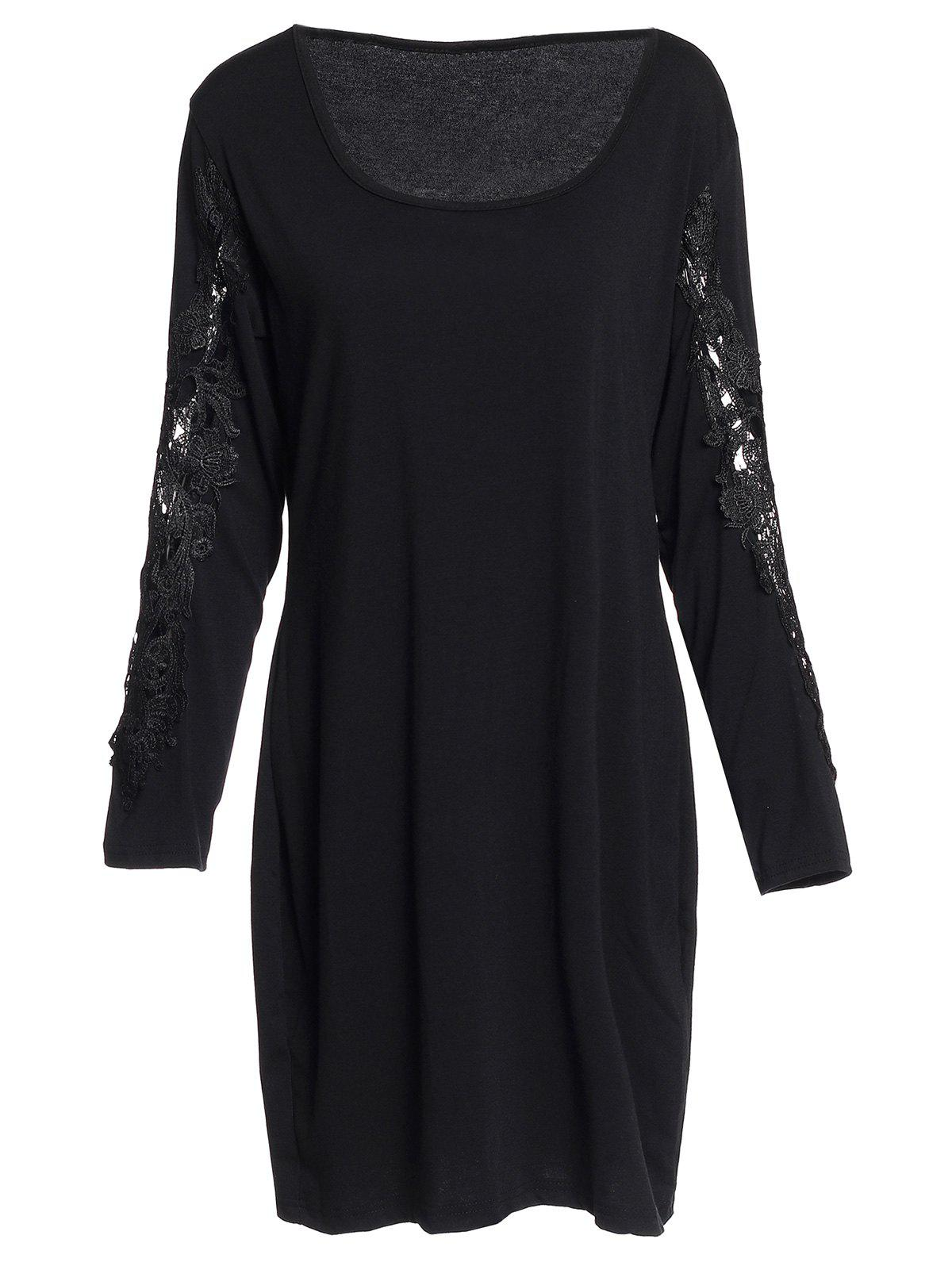 Sexy Scoop Neck Long Sleeve Plus Size Hollow Out Women's Dress - BLACK 3XL