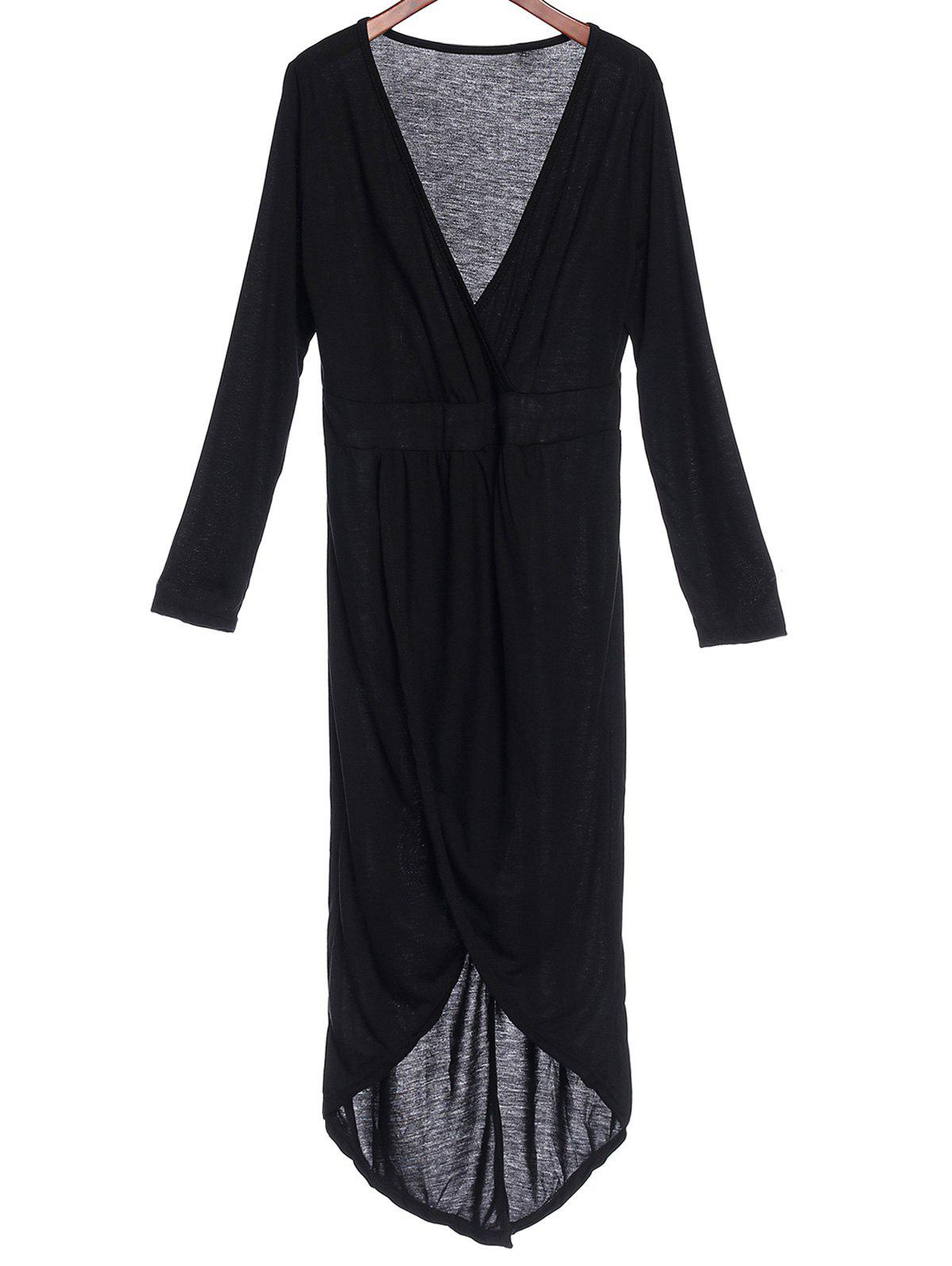 Sexy Plunging Neck Solid Color High-Low Hem Plus Size Long Sleeve Women's Dress plunging neck high low split sleeve blouse