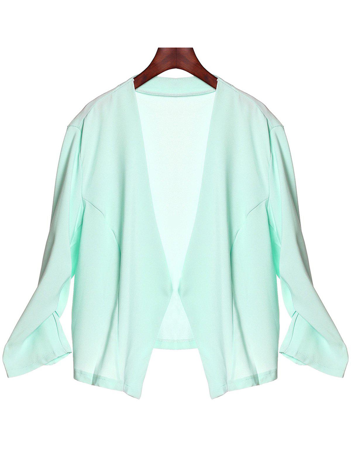 Casual Solid Color Plus Size 3/4 Sleeve Blazer For Women - AZURE XL