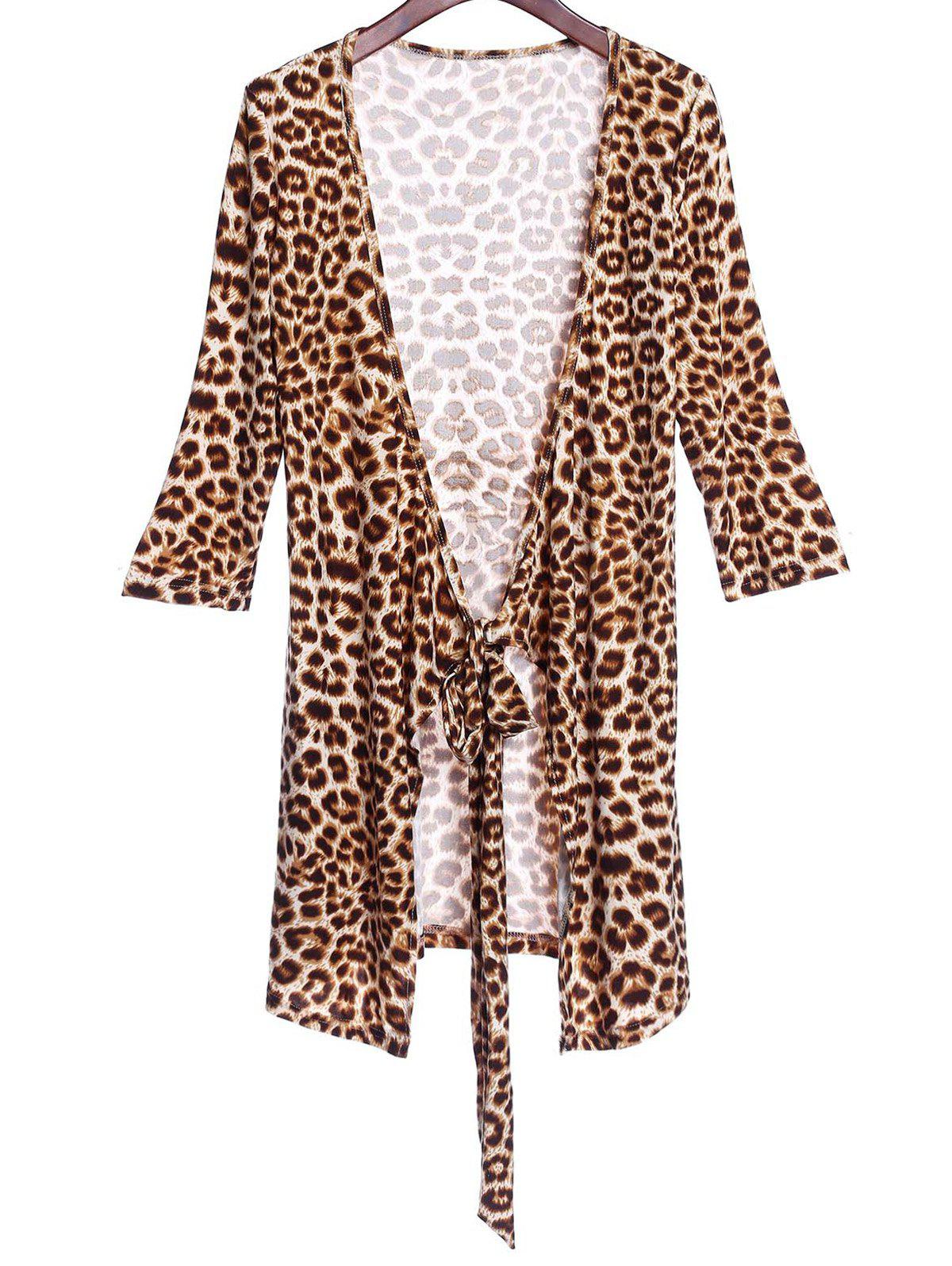Sexy 3/4 Sleeve Plunging Neck Leopard Print Women's Club Dress