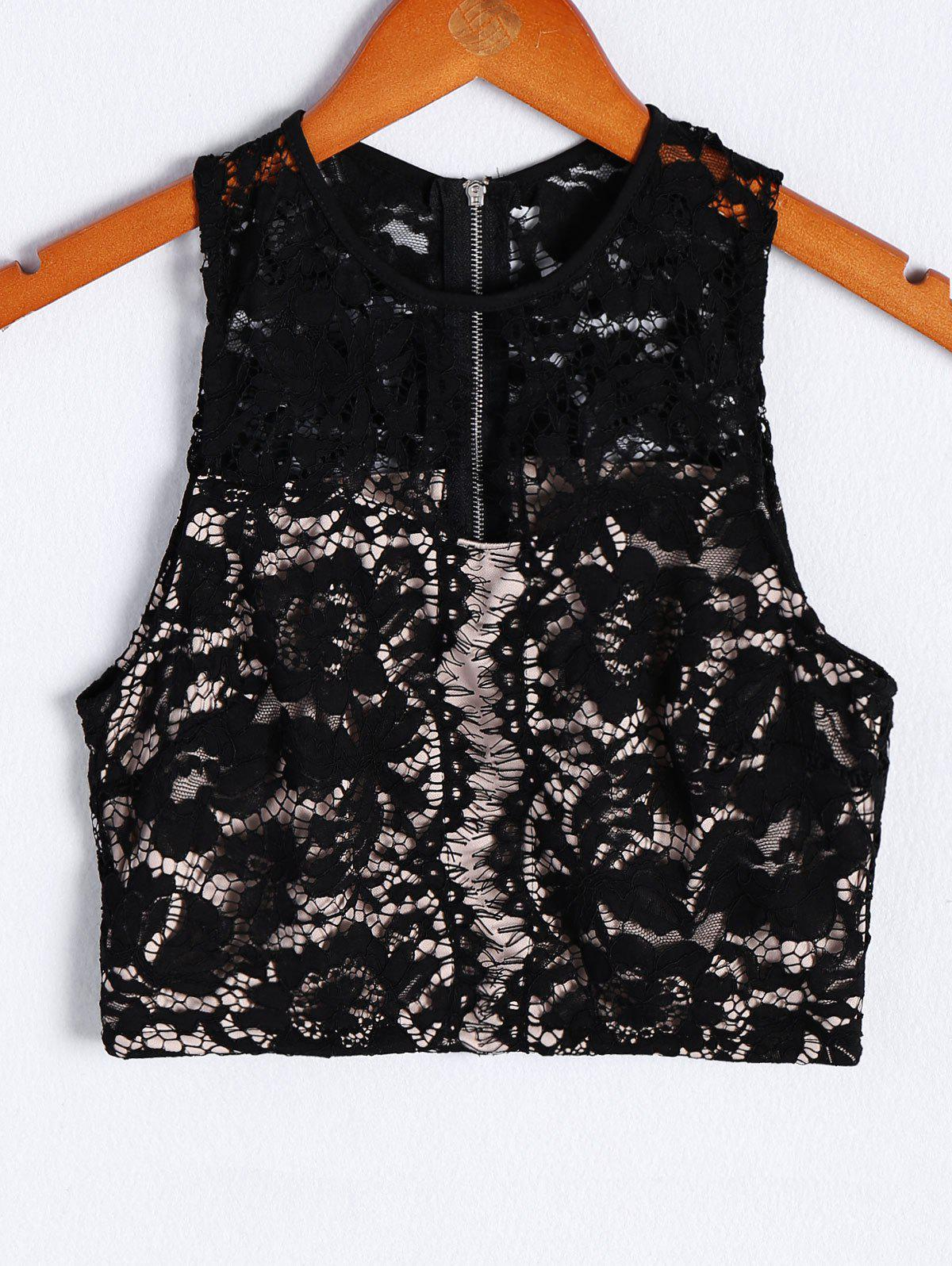 Fashionable Women's RoundNeck Lace Openwork Tank Top