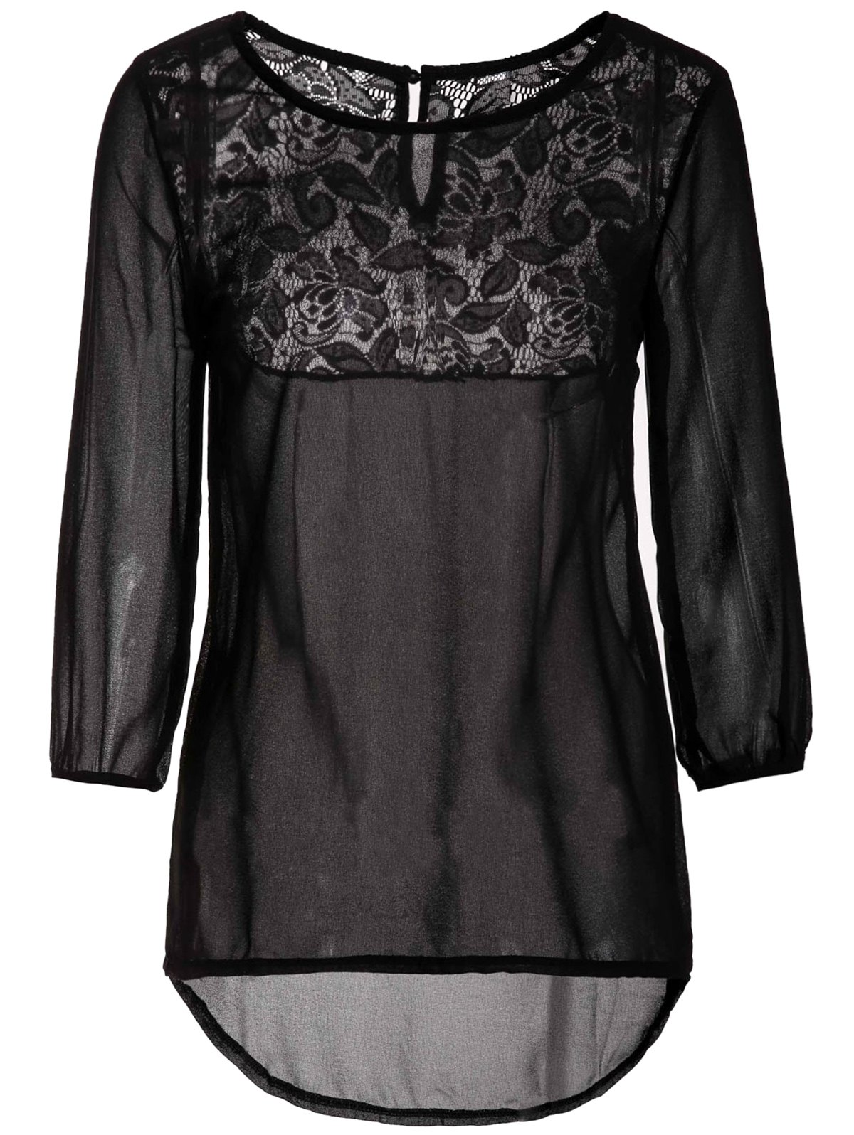 Sweet Scoop Neck 3/4 Bell Sleeve Back Lace Spliced Chiffon Blouse For Women - BLACK S