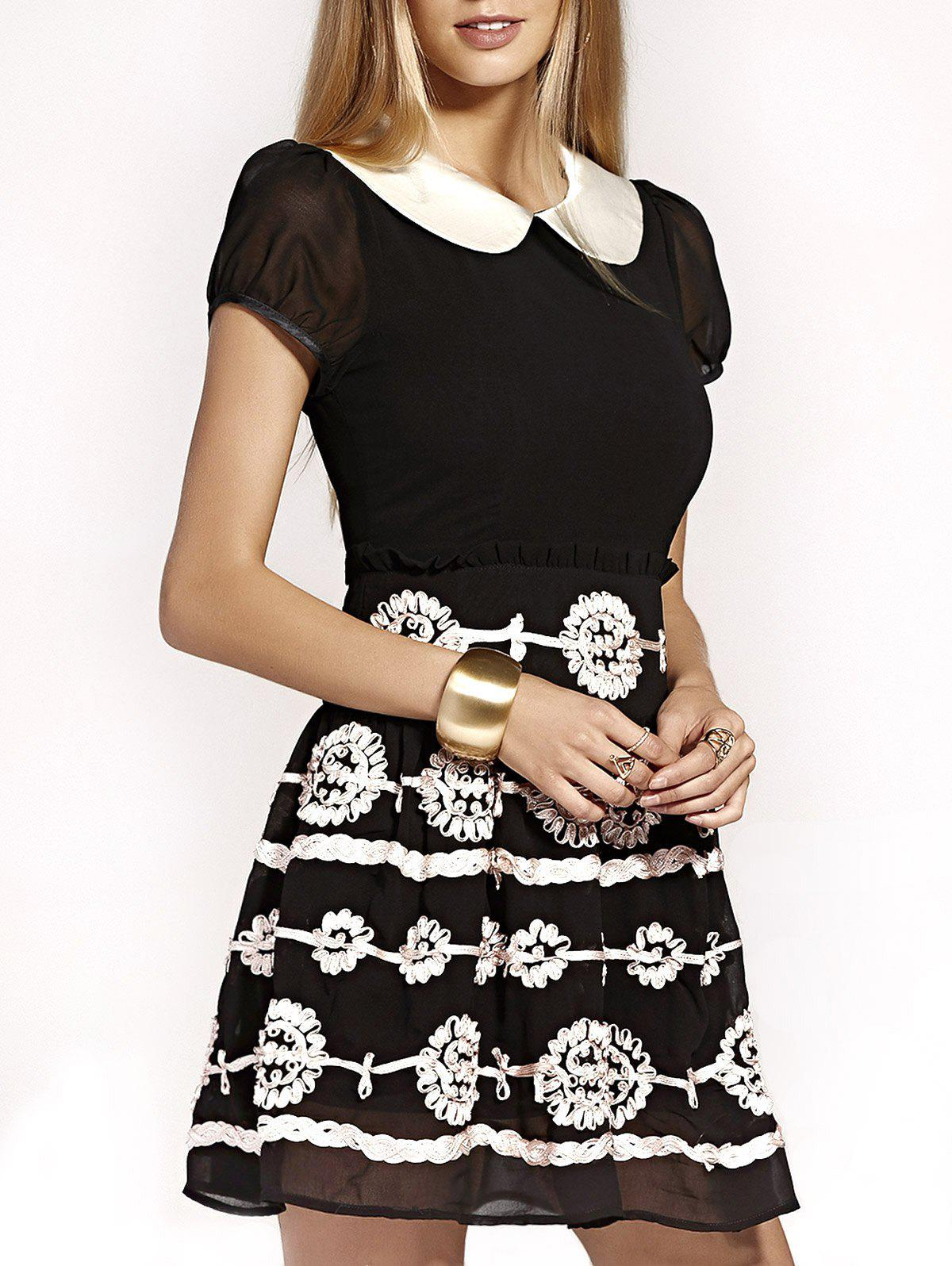 Cute Peter Pan Collar Puff Sleeve Mini Dress For WomenWomen<br><br><br>Size: XL<br>Color: BLACK
