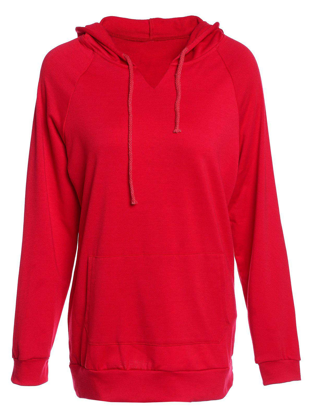 Trendy Hooded Long Sleeve Pocket Design Solid Color Women's Hoodie - RED L