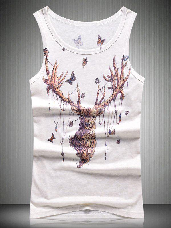 Abstract Elk and Butterfly 3D Print Round Neck Men's Tank Top - WHITE XL