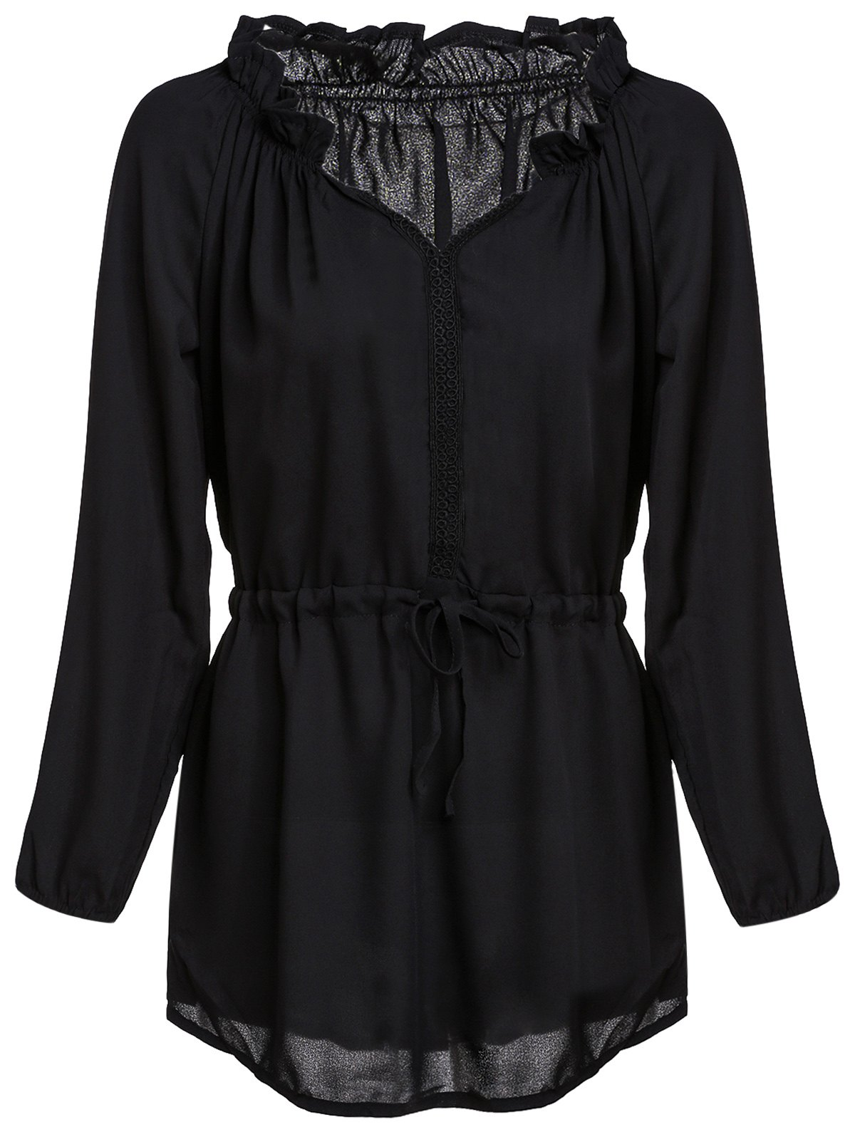 Charming Black V-Neck 3/4 Sleeve Waist Drawstring Pleated Dress For Women