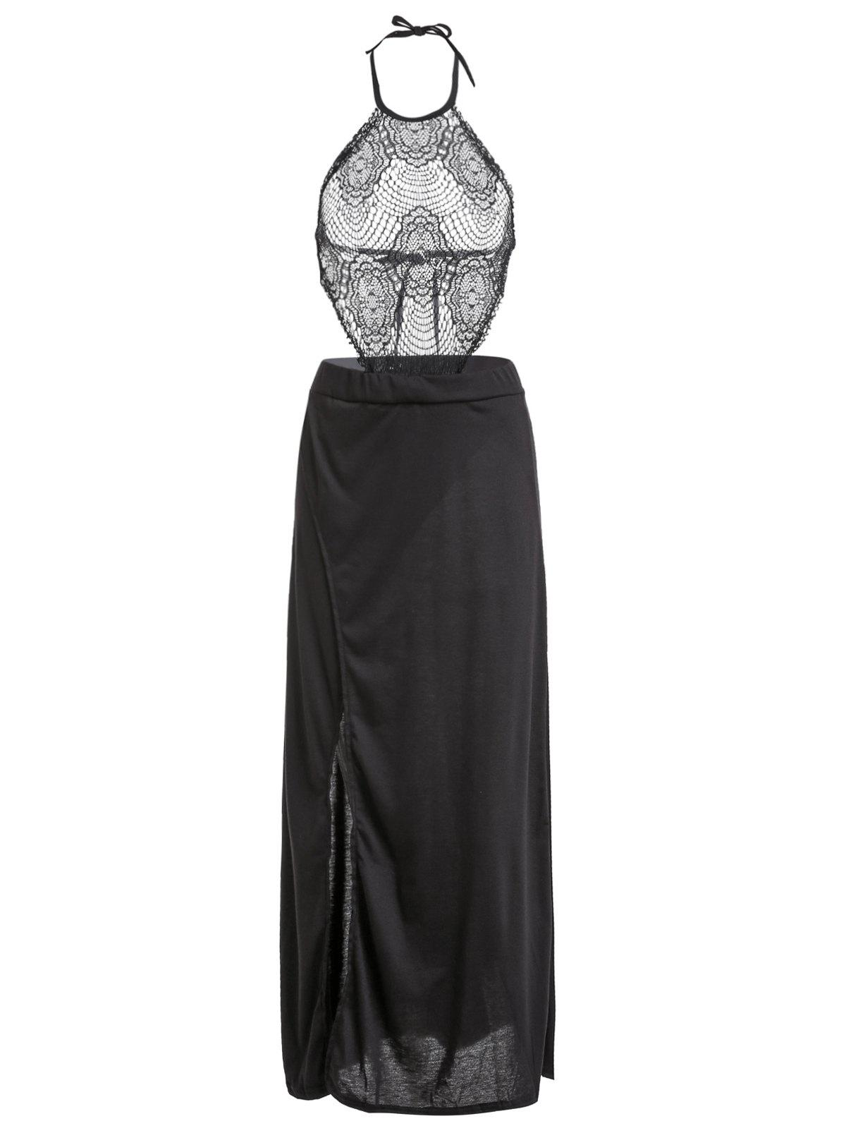 Sexy Women's Halter Hollow Out Lace Spliced High Slit Dress - BLACK S