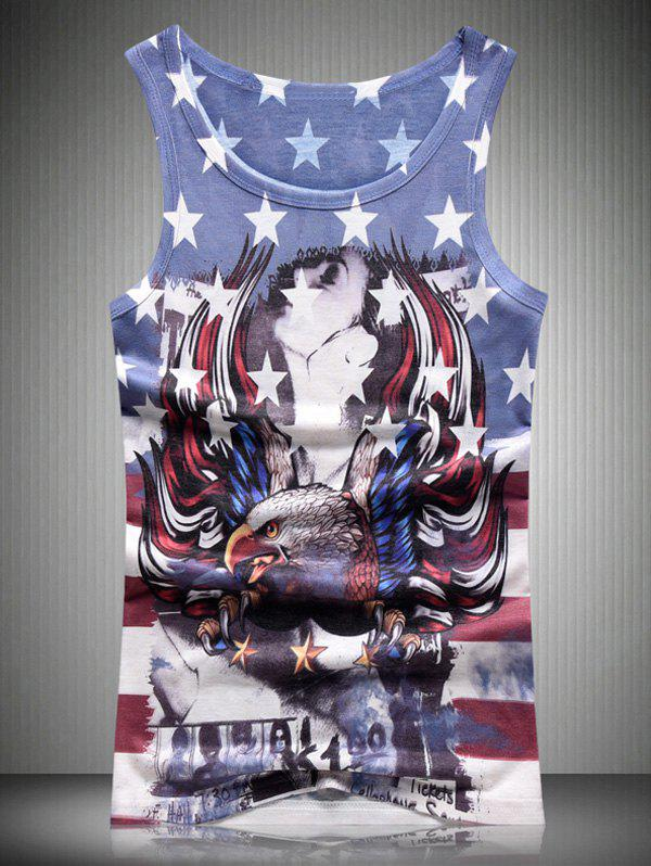 Star and Stripe Eagle 3D Print Round Neck Men's Tank Top - COLORMIX 3XL