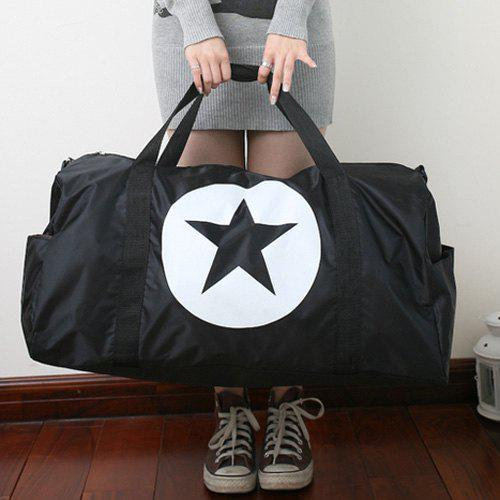 Casual Black Color and Star Design Women's Tote Bag - BLACK