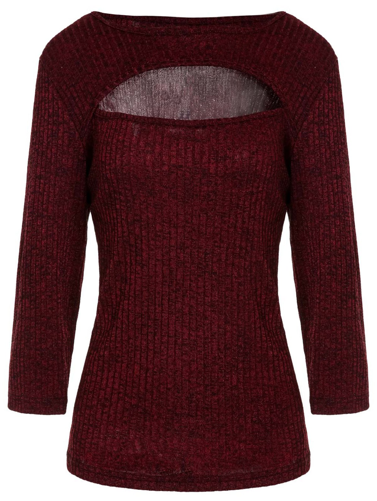 Stylish Half Sleeve Scoop Neck Hollow Out Solid Color Women's T-Shirt - PURPLISH RED 2XL