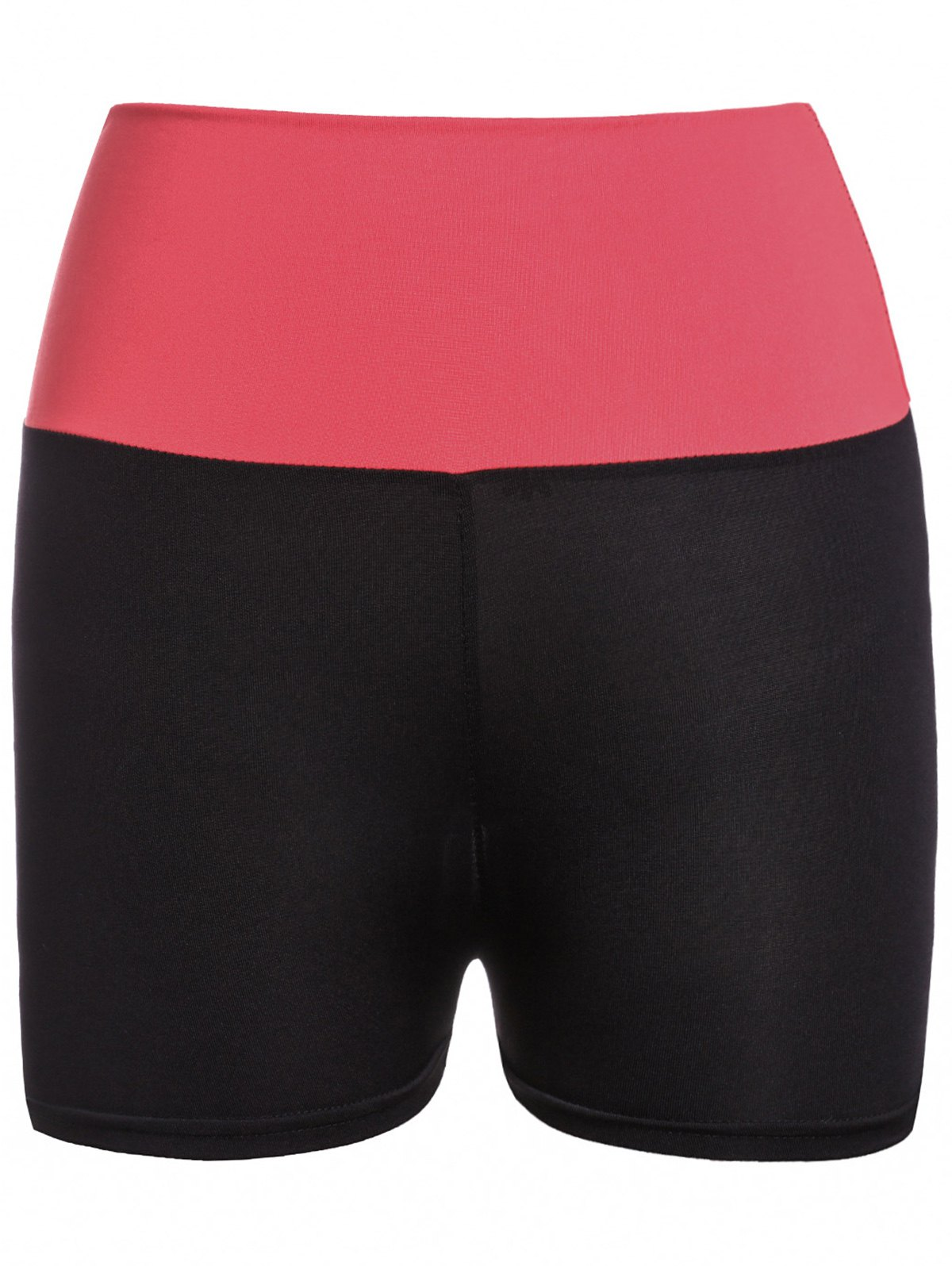 Active Style Elastic Waist Color Block Skinny Women's Yoga Shorts