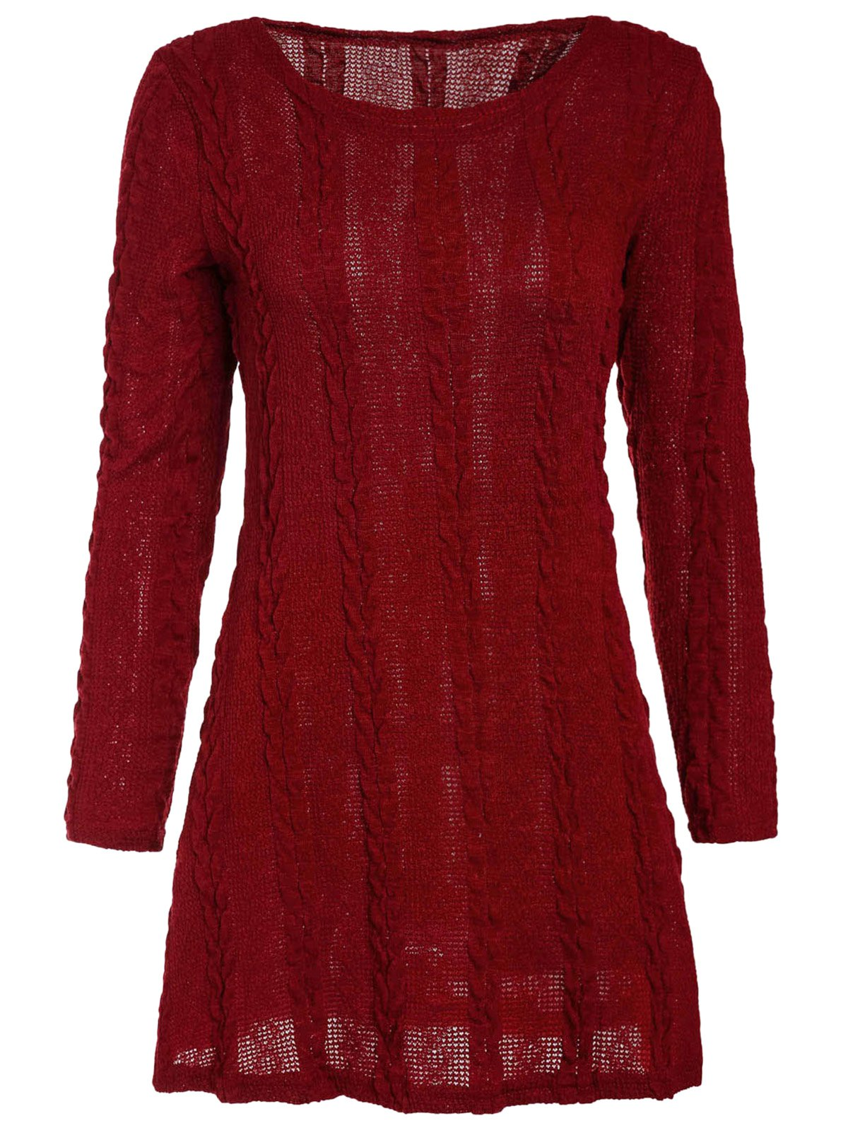 Brief A-Line Scoop Neck Long Sleeve Dress For Women - S WINE RED