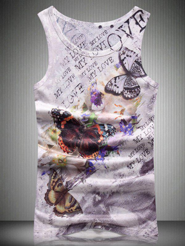 Letters and Butterfly 3D Print Round Neck Men's Tank Top - COLORMIX 2XL