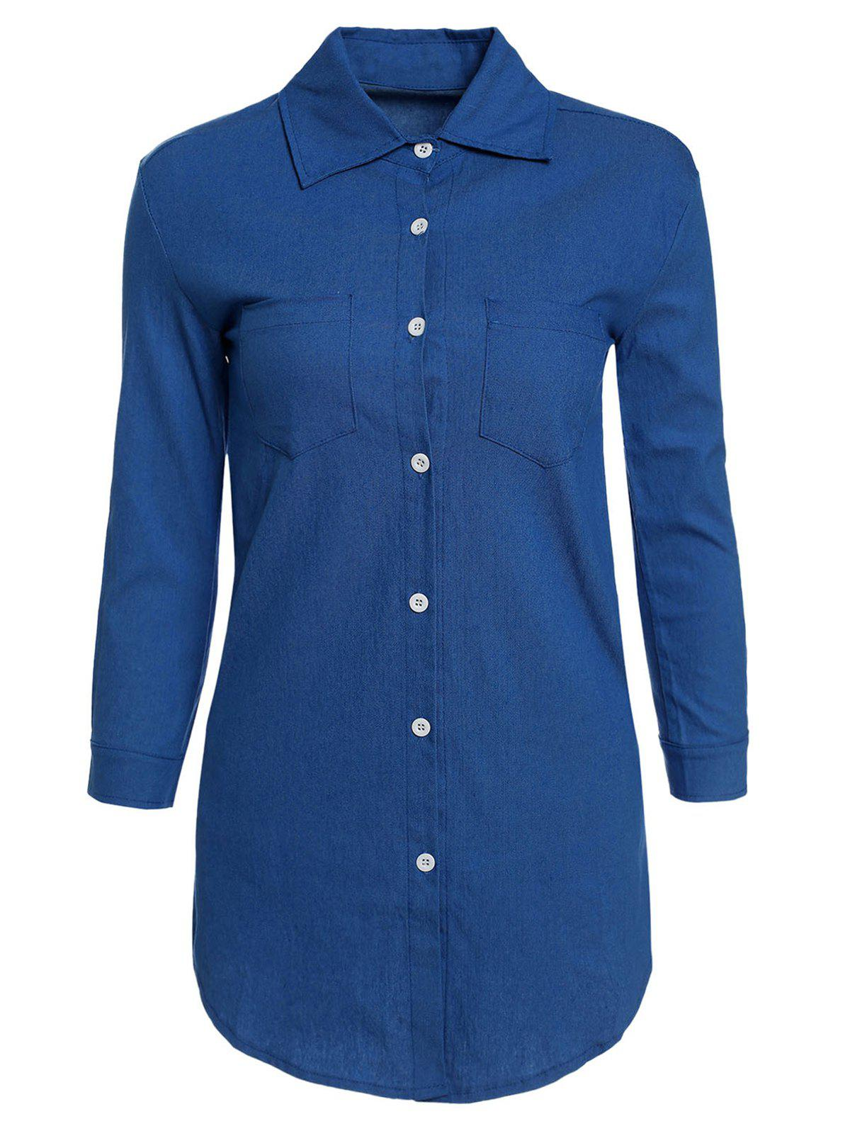 Stylish Shirt Collar Long Sleeve Pocket Design Single-Breasted Denim Women's Dress - LIGHT BLUE M