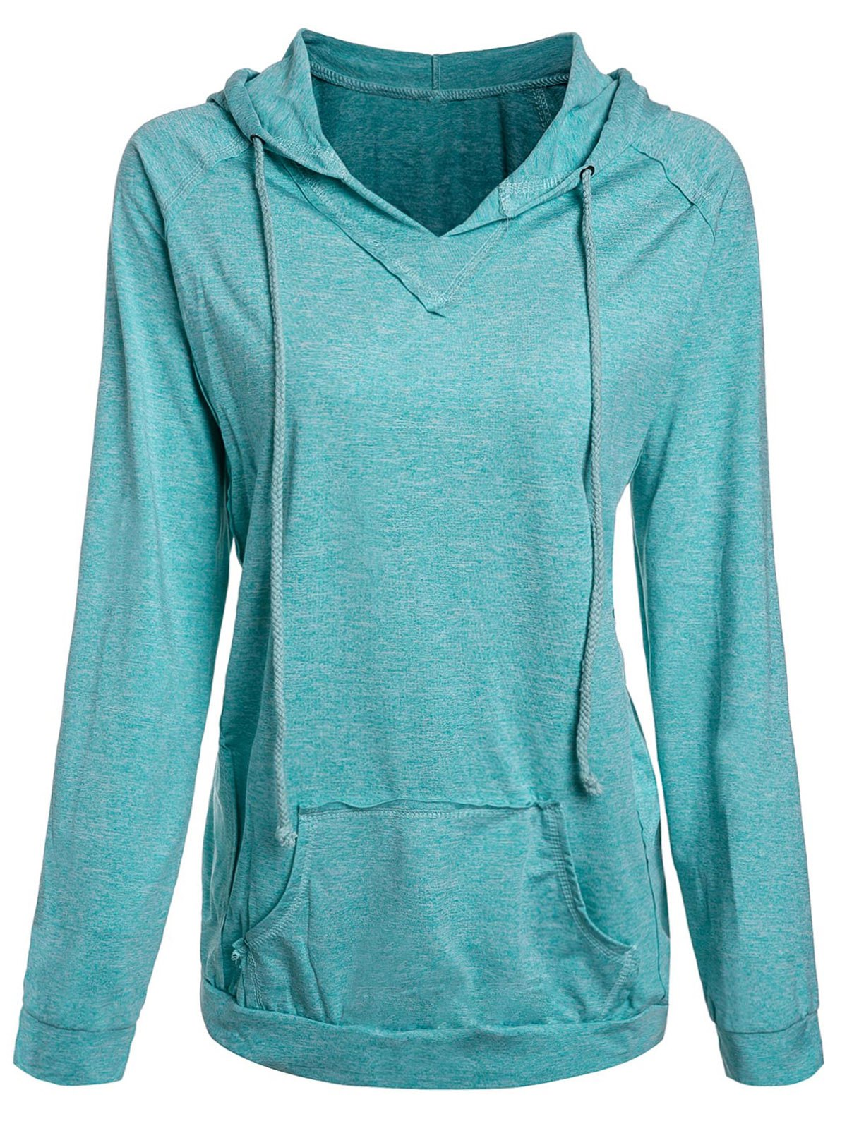 Active Candy Color Hooded Pocket Spliced Pullover Hoodie For Women - MINT GREEN S