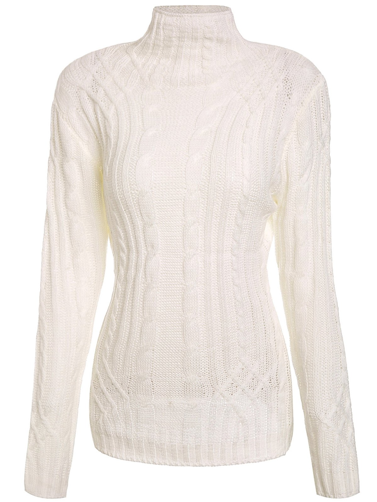 Charming Solid Color Turtleneck Twist Wave Thick Pullover Sweater For Women - WHITE S