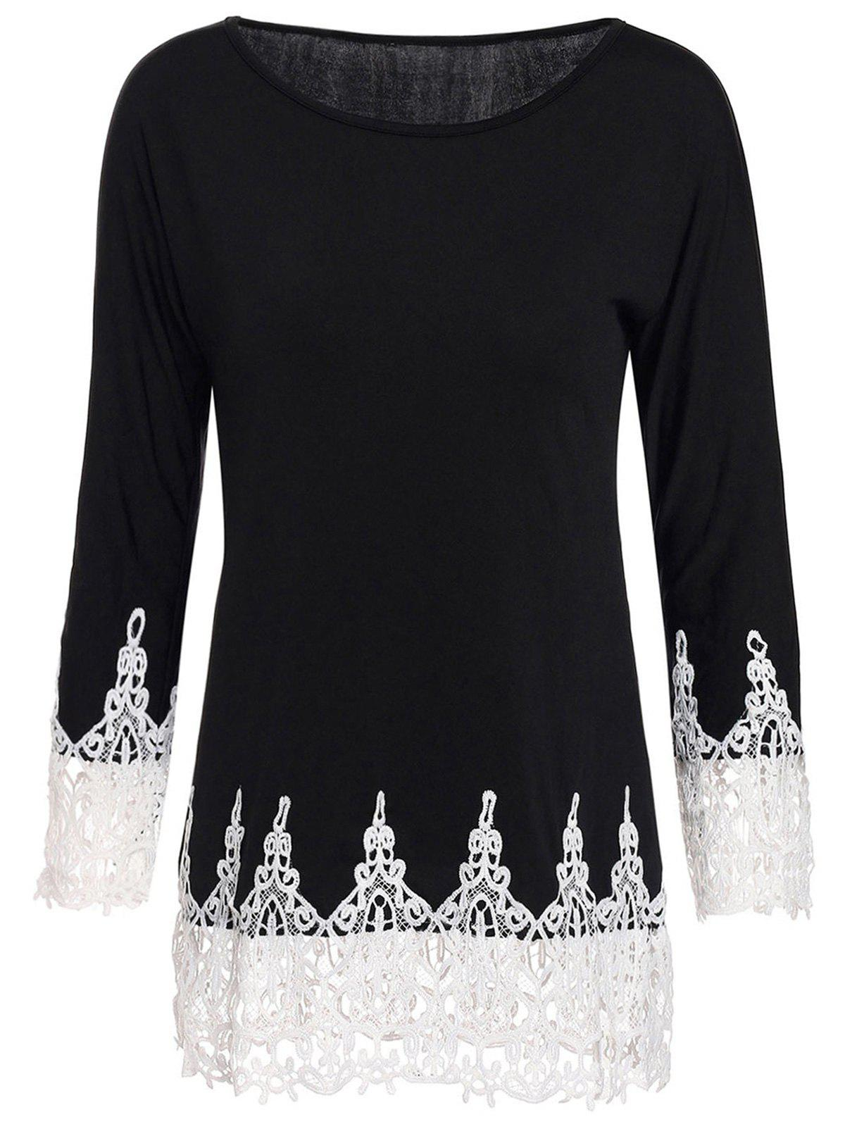 Stylish Women's Scoop Neck 3/4 Sleeve Lace Splicing T-Shirt - BLACK S