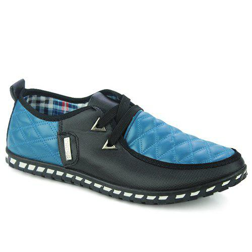 Stylish  Checked and Color Block Design Men's Casual Shoes - BLUE 43