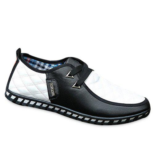 Stylish  Checked and Color Block Design Mens Casual ShoesShoes<br><br><br>Size: 41<br>Color: WHITE AND BLACK