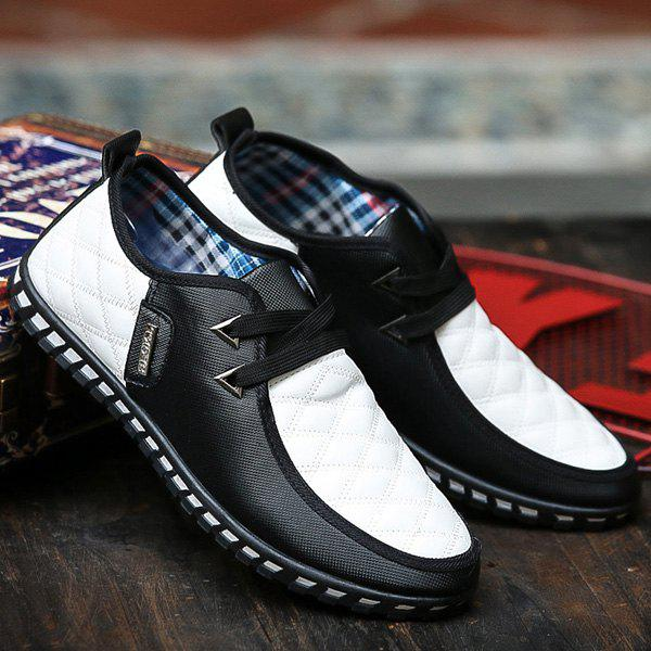 Stylish  Checked and Color Block Design Men's Casual Shoes - WHITE/BLACK 41