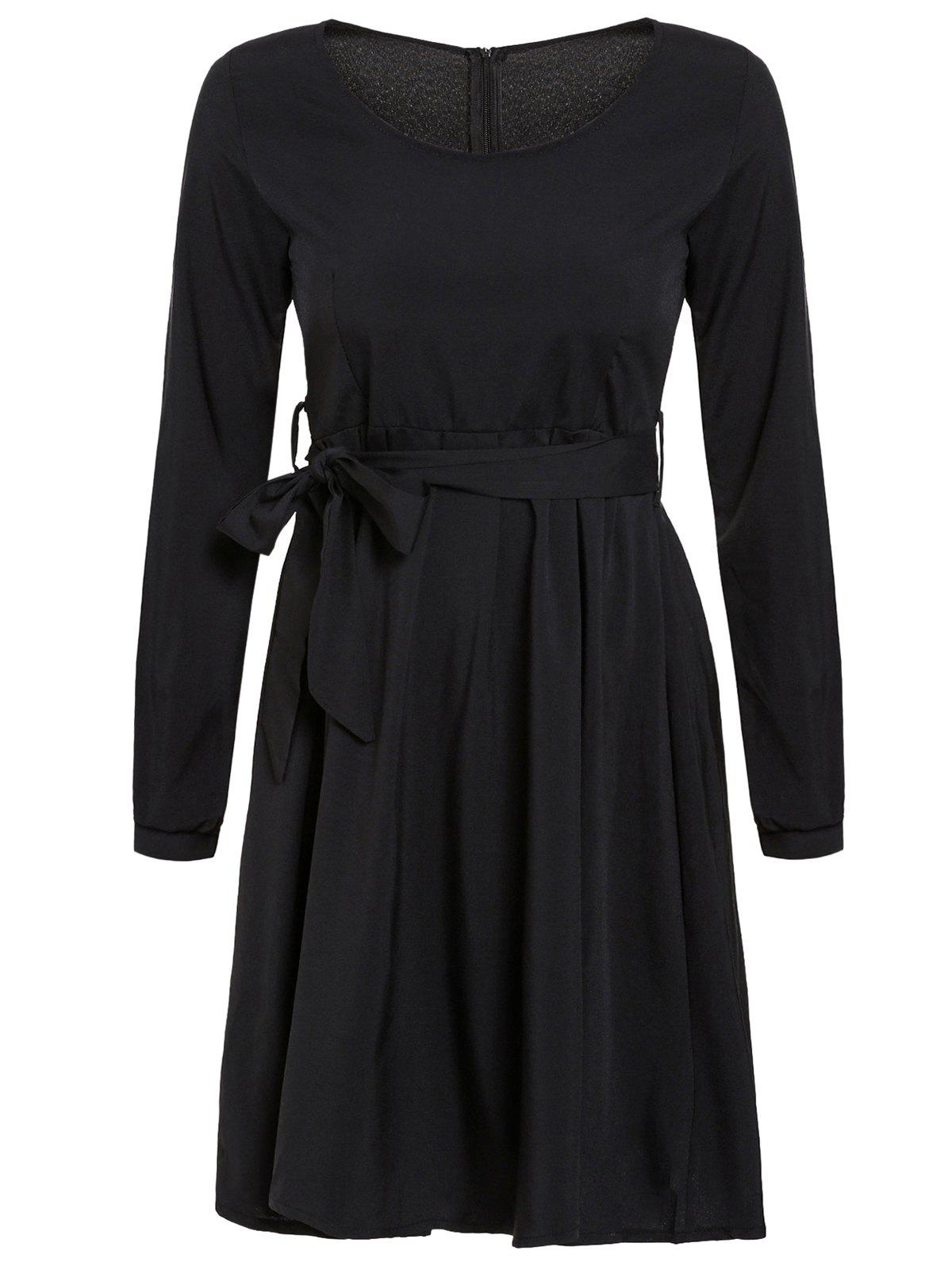 Stylish Jewel Neck 3/4 Sleeve Pocket Design Solid Color Women's Dress - 2XL BLACK