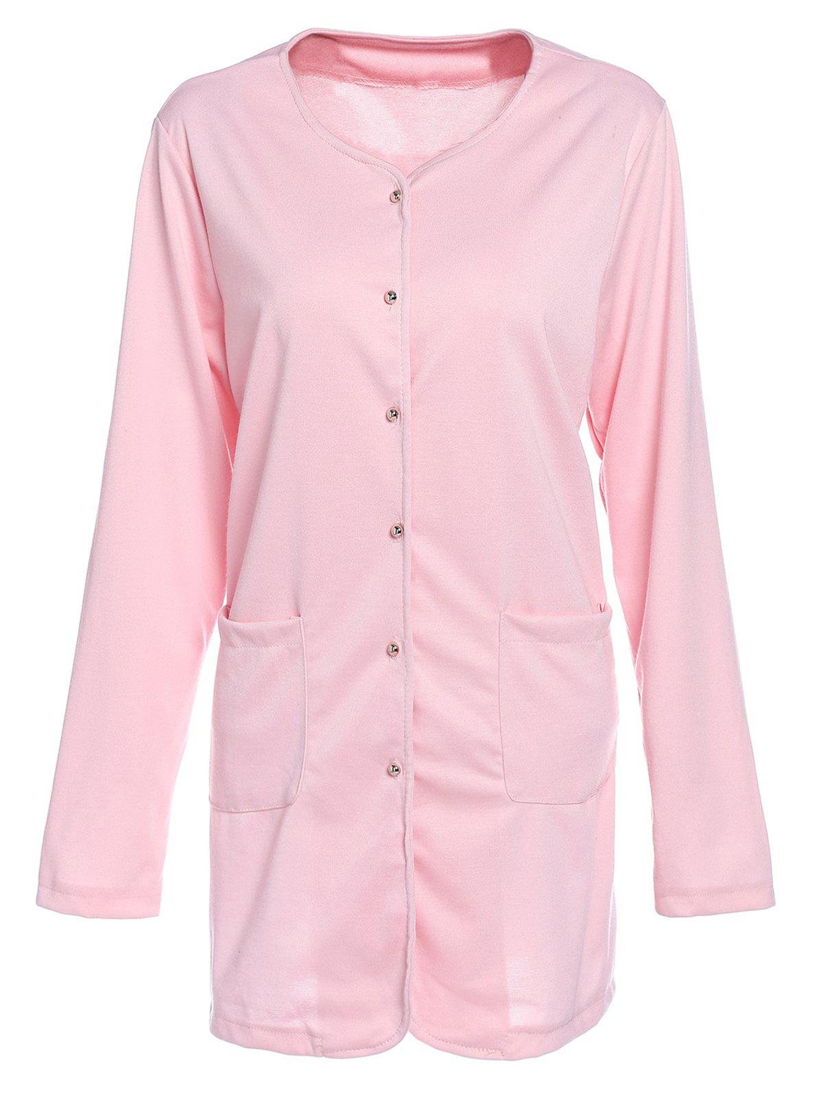 Chic Candy Color Single-Breasted Straight Trench Coat For Women - PINK S