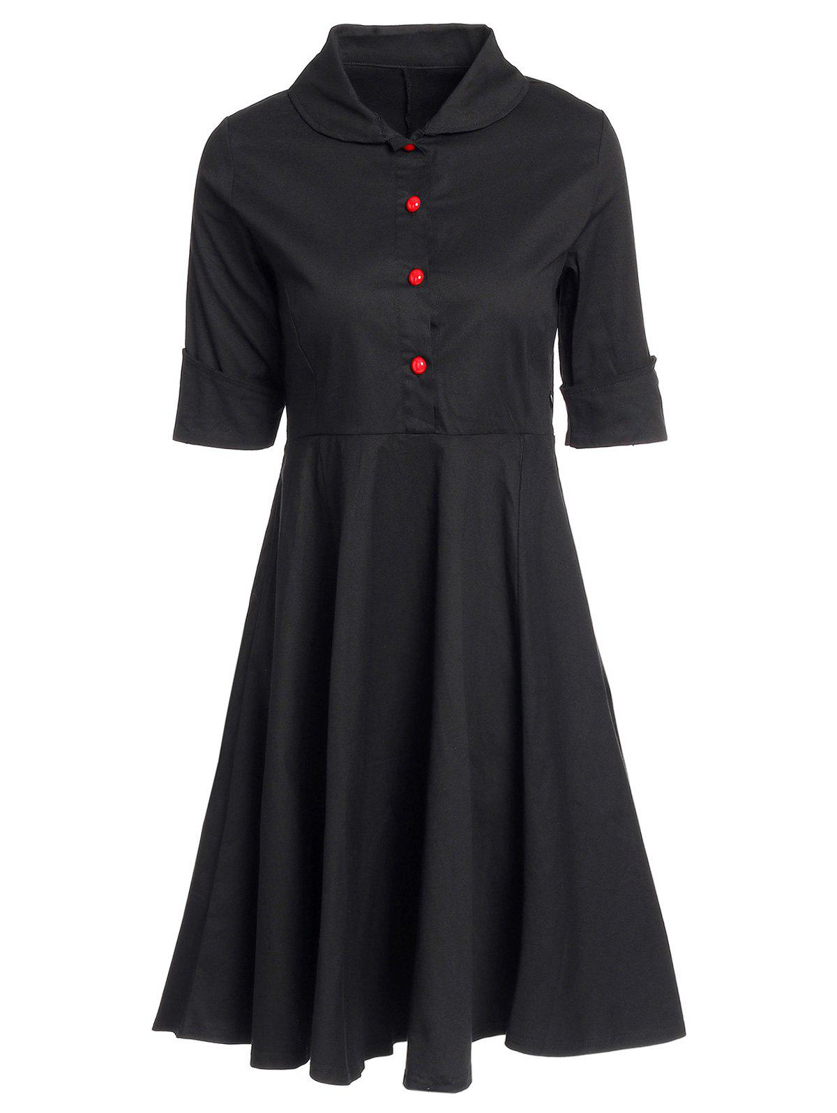 Vintage Buttoned Turn-Down Collar Short Sleeve Ball Dress For Women - BLACK M