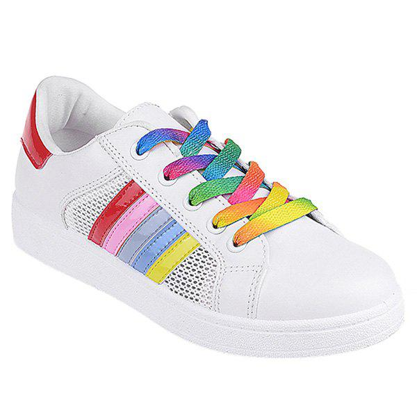 Leisure Breathable and Striped Design Women's Athletic Shoes - RED 40