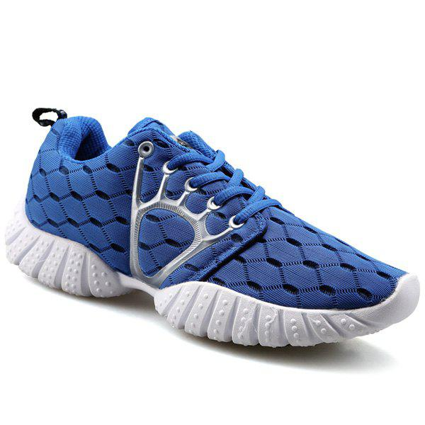 Trendy Mesh and Checked Design Men's Athletic Shoes - BLUE 44