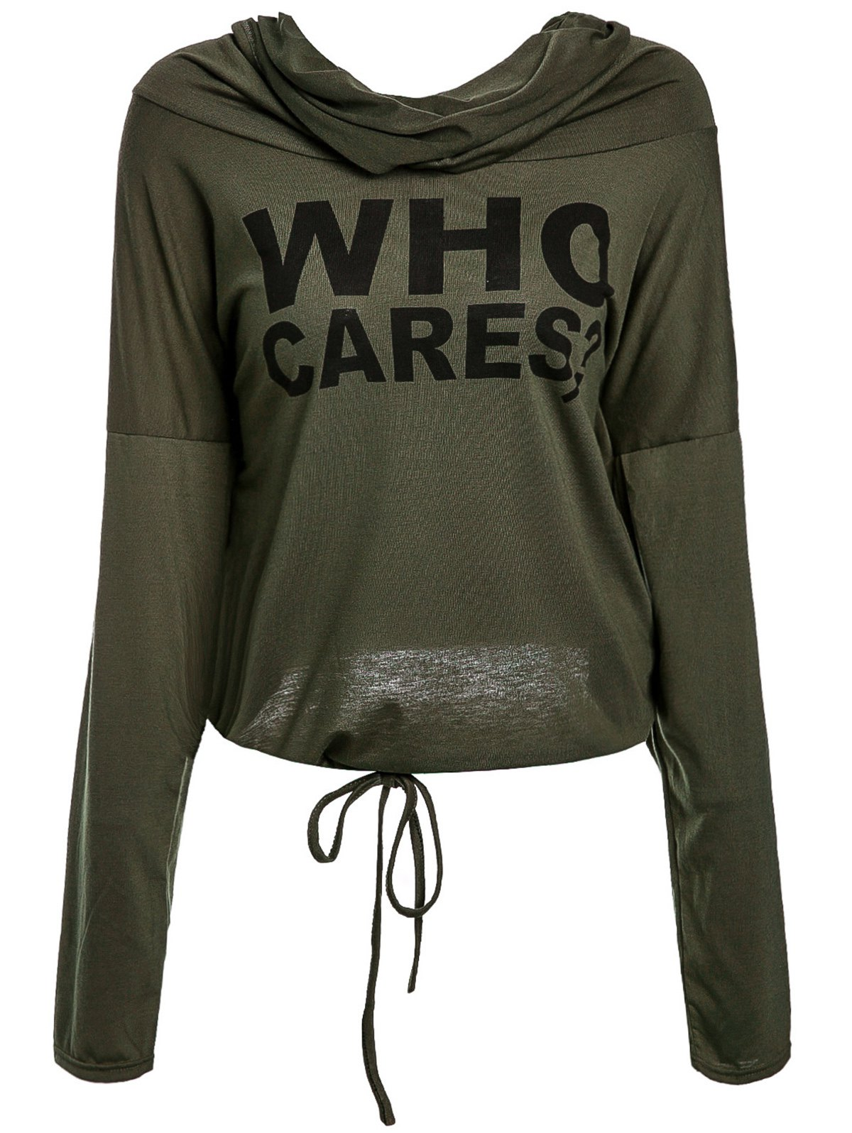 Simple Style Letter Printed Ruched Hooded Long Sleeve Pullover Hoodie For Women - ARMY GREEN L