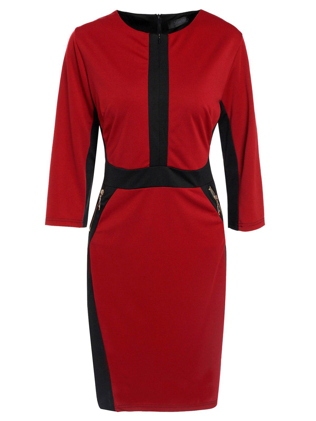 OL Style 3/4 Sleeve Round Neck Zip Design Hit Color Women's Bodycon Dress - WINE RED XL