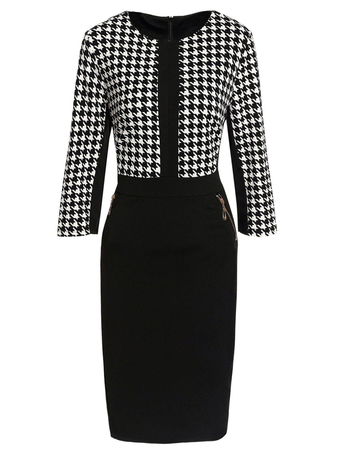 Zippered Houndstooth Bodycon Dress - WHITE/BLACK XL