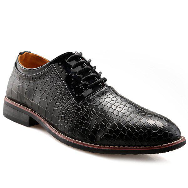 Vintage Embossing and Lace-Up Design Men's Formal Shoes - BLACK 42