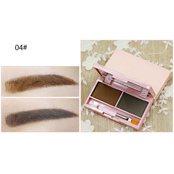 Cosmetic 2 Colours Long Wear Waterproof Smudge-Proof Eyebrow Powder Palette with Brush and Mirror