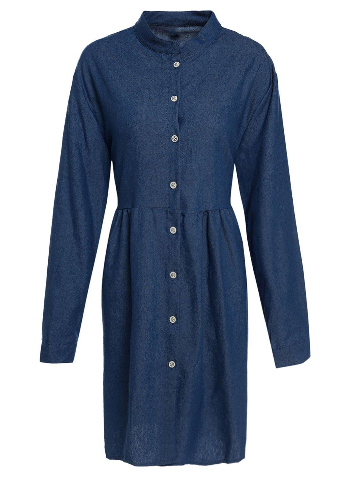 Fresh Style Solid Color Stand Collar Loose Denim Shirt Dress For Women