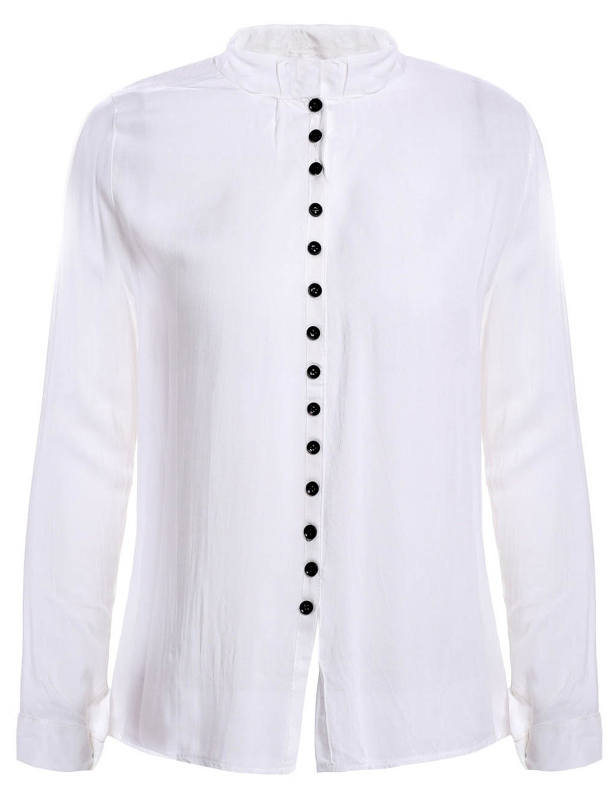 все цены на Solid Color V-Neck Long Sleeve Single-Breasted Casual Style Women's Blouse